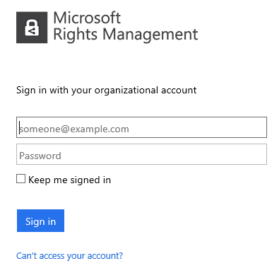 Please sign in using your organizational account